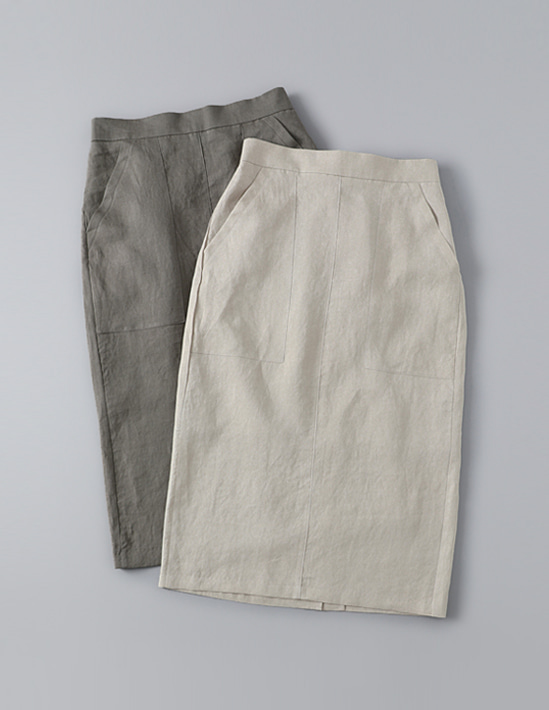 LINEN POCKET SKIRT , 린넨스커트